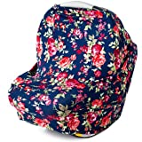Stretchy Multi Use Carseat Canopy | Nursing Cover | Shopping Cart & High Chair Cover | Scarf - Vintage Navy Floral | Best Baby Gift for Girls | Fits Infant Car Seat | For Breastfeeding Moms