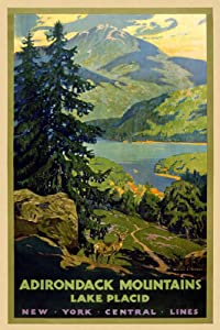 """Magnet 1920s Adirondack Mountains NY Central Lines Vintage Style Travel Magnet Vinyl Magnetic Sheet for Lockers, Cars, Signs, Refrigerator 5"""""""