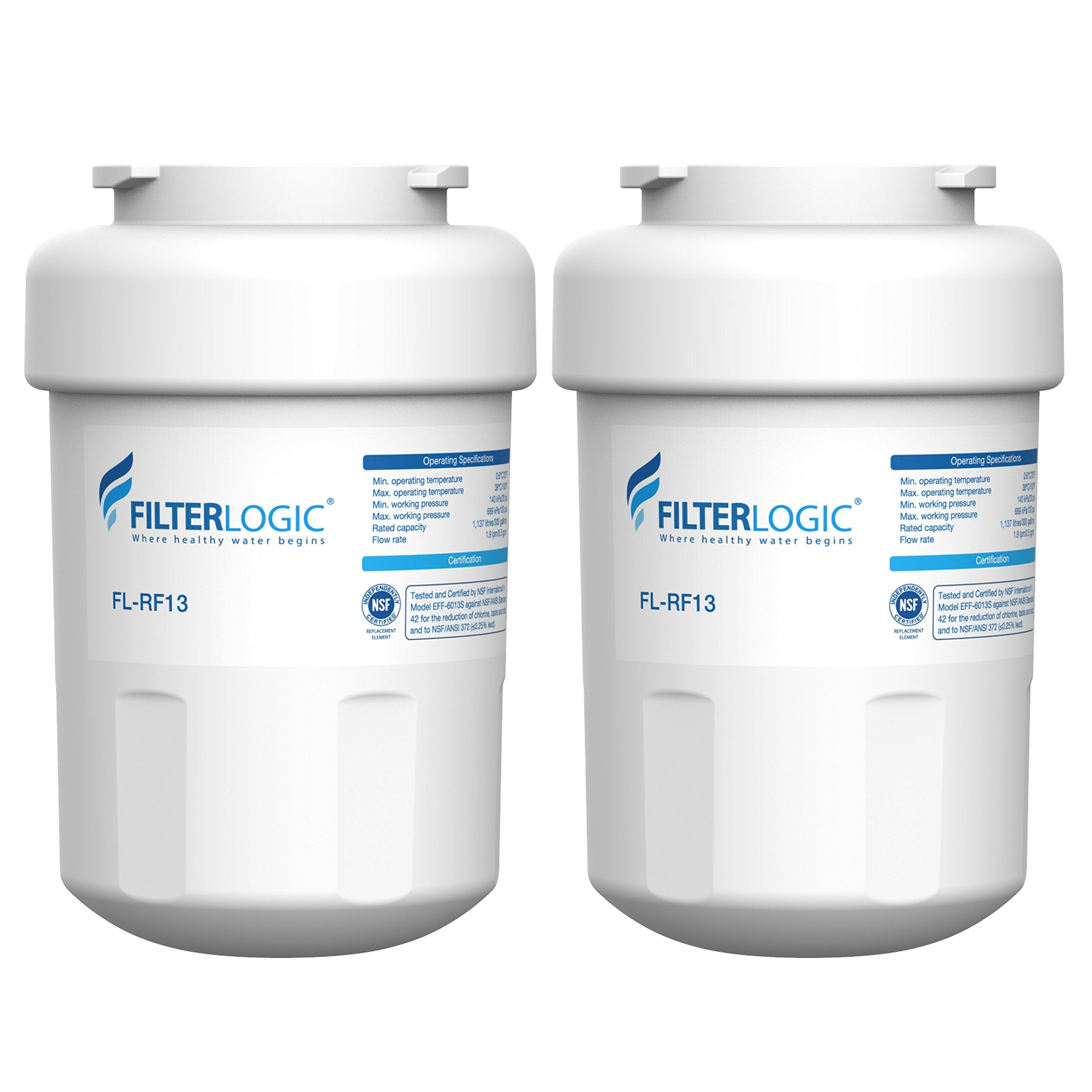 FilterLogic MWF Replacement Refrigerator Water Filter, Compatible with GE MWF, SmartWater, MWFP, MWFA, GWF, HDX FMG-1, WFC1201, GSE25GSHECSS, PC75009, RWF1060, 197D6321P006, 2 Pack