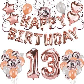 Howaf Decoración de cumpleaños 13 en Oro Rosa, 59 Piezas Feliz cumpleaños Decoración Globos Guirnalda Banner 13 Años Globos de Confeti y Estrella ...
