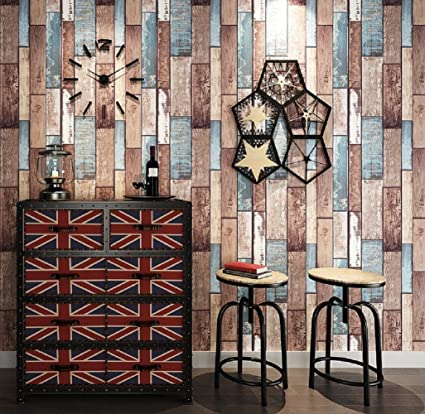 Home Wallpaper Personality Color Wood Texture Wall Paper