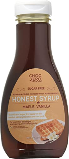 Honest Syrup, Maple Vanilla. Sugar free, Low Carb, No preservatives. Thick and Rich. Sugar Alcohol free, Gluten Free, Pancake and Waffle topping. 1 Bottle(12oz)