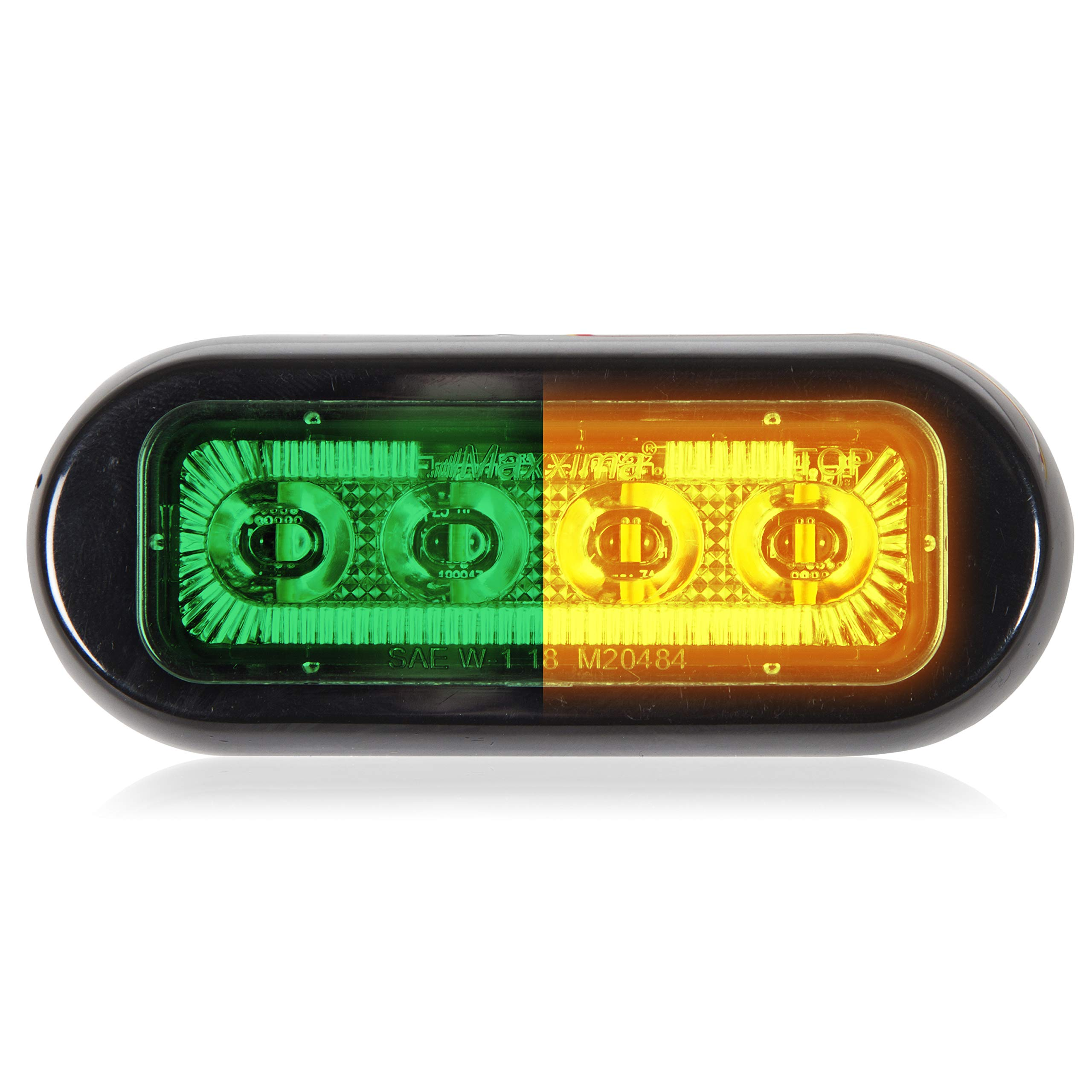 Maxxima M20484GYCL 4 LED Rectangular Surface Mount Warning Green/Amber Clear Lens