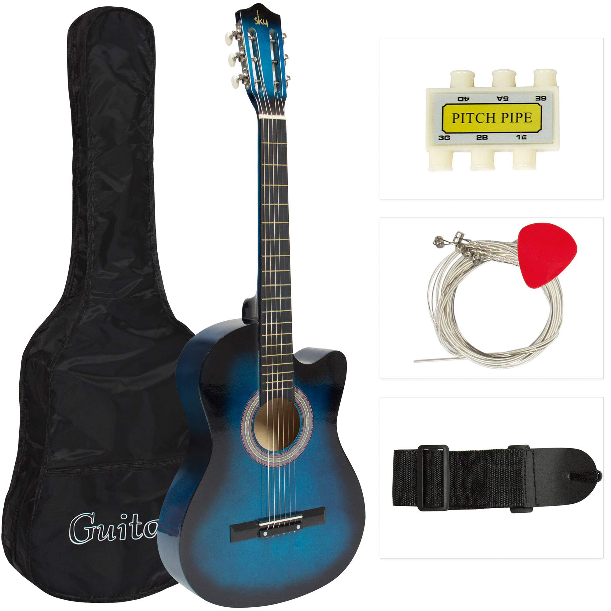 Best Choice Products 38in Beginner Acoustic Cutaway Guitar Set w/Extra Strings, Case, Strap, Tuner, and Pick (Blue) by Best Choice Products