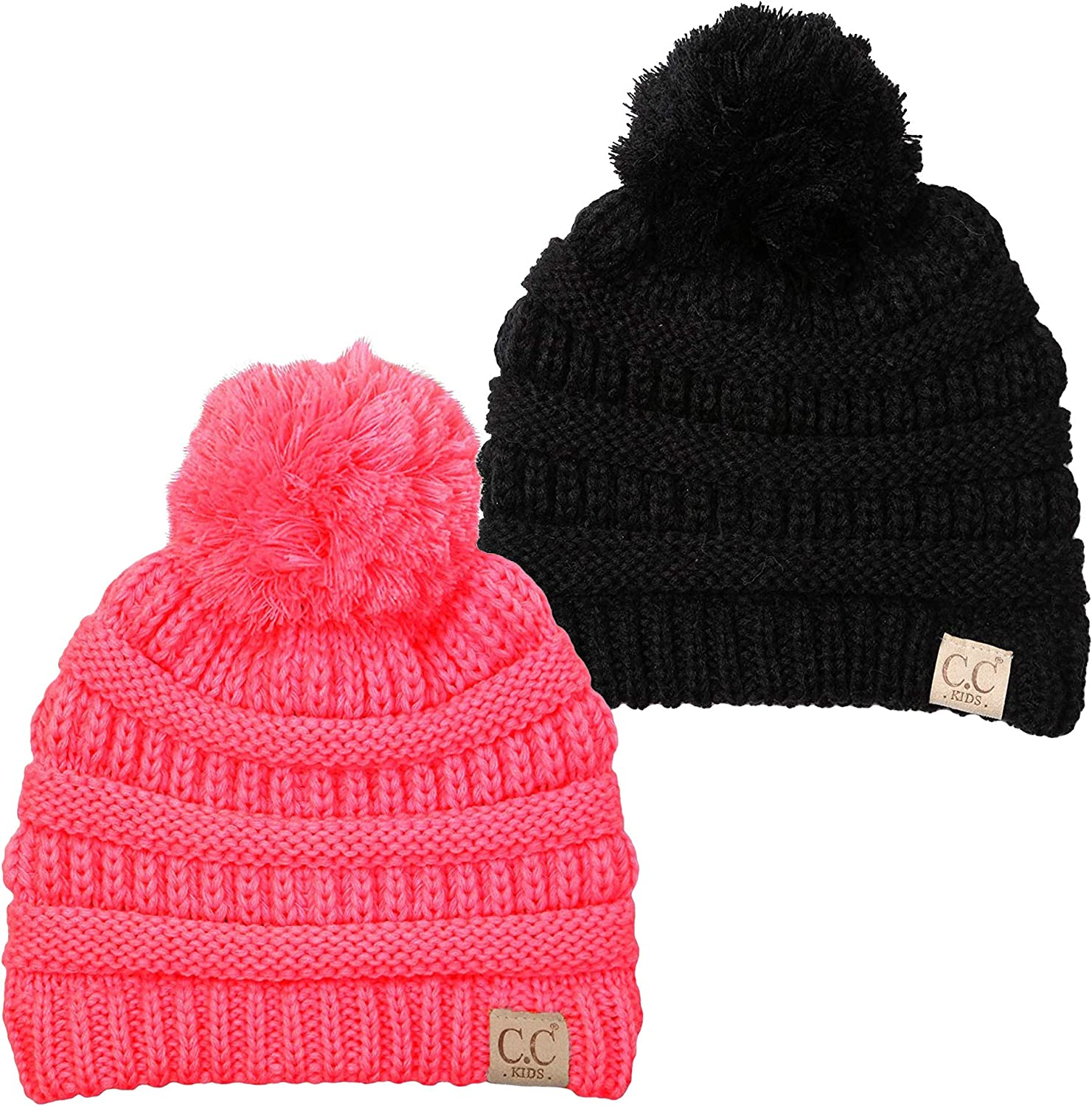 Womens Ivory Cable Knit Pom Beanie Hat Knit Stocking Cap Blue Red Black Stripe