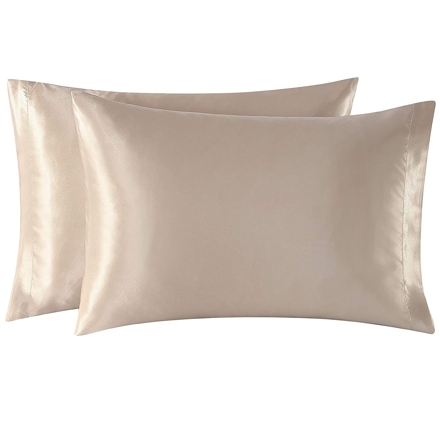 EXQ Home Satin Pillowcases Set of 2 for Hair and Skin Queen Size 20x30 Camel Pillow Case with Envelope Closure.