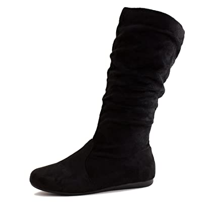 Link Womens Mid Calf 13 Inch Faux Suede Boots (Adults) | Mid-Calf