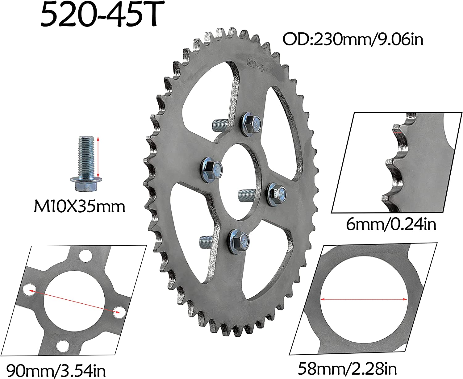 WPHMOTO 45T 58mm 520 Chain Rear Sprocket for Dirt Pit Bike ATV Go Kart Quad Buggy