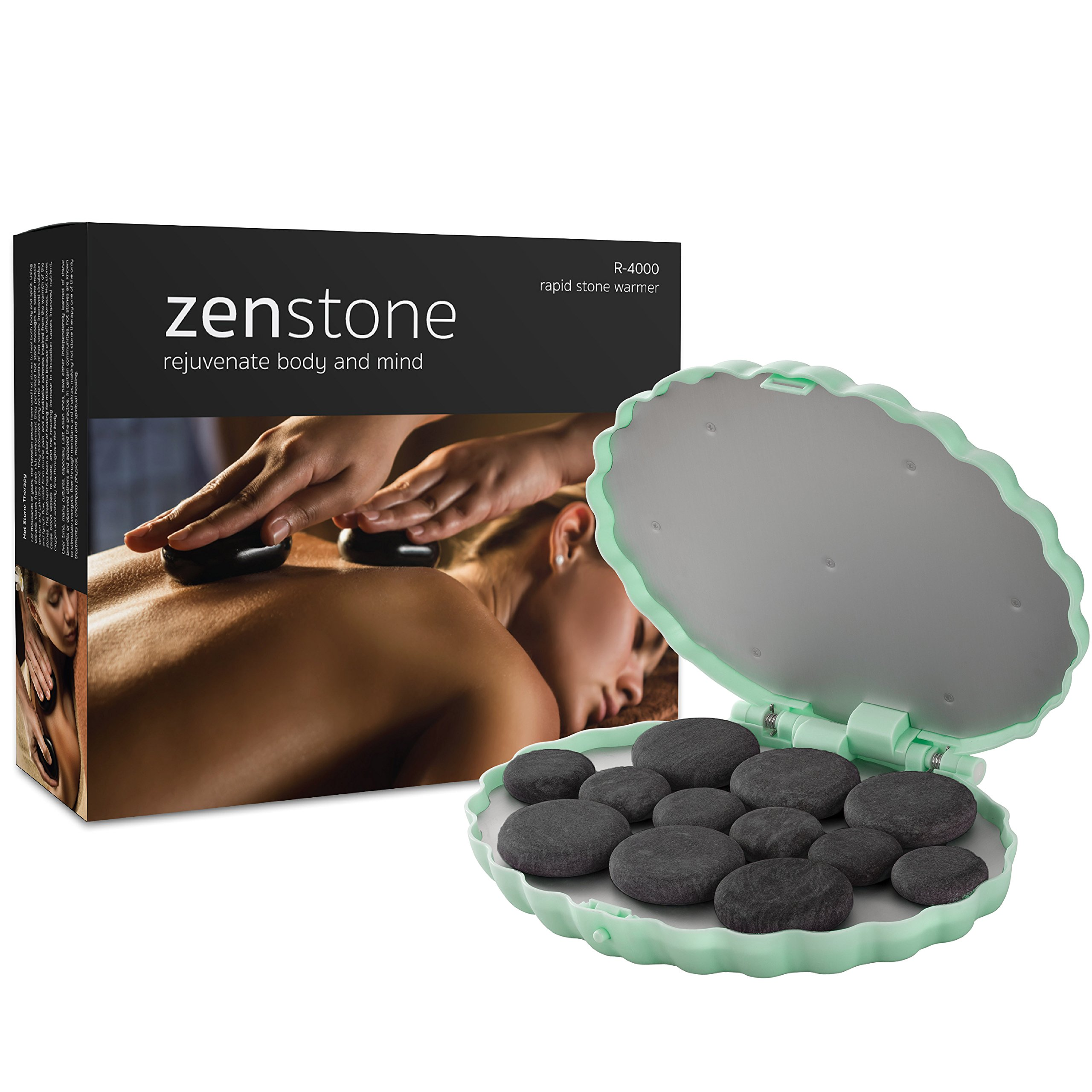 ZENSTONE Professional Hot Stone Therapy Kit – Rapid Waterless Tech – 12 Stones Included | Massage Warmer (Spa Green)