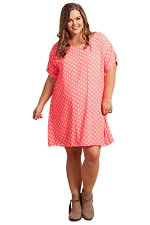 PinkBlush Maternity Neon Pink Polka Dot Short Sleeve Plus Size Dress ...