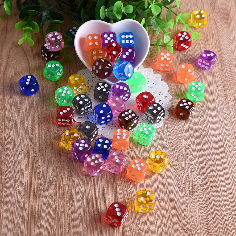 tombola 10 colori diversi da 16 mm acrilico dadi per tenzi libera sacca farkle truffe o insegnare matematica Austor 100 pezzi 6-sided dadi
