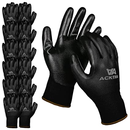 94941b161f3a0 ACKTRA Nitrile Coated Nylon Safety WORK GLOVES 12 Pairs, Knit Wrist Cuff,  Multipurpose, for Men & Women, WG003 Black Polyester, Black Nitrile, ...