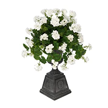 Amazon house of silk flowers faux geranium in black footed house of silk flowers faux geranium in black footed tuscan urn planter white mightylinksfo