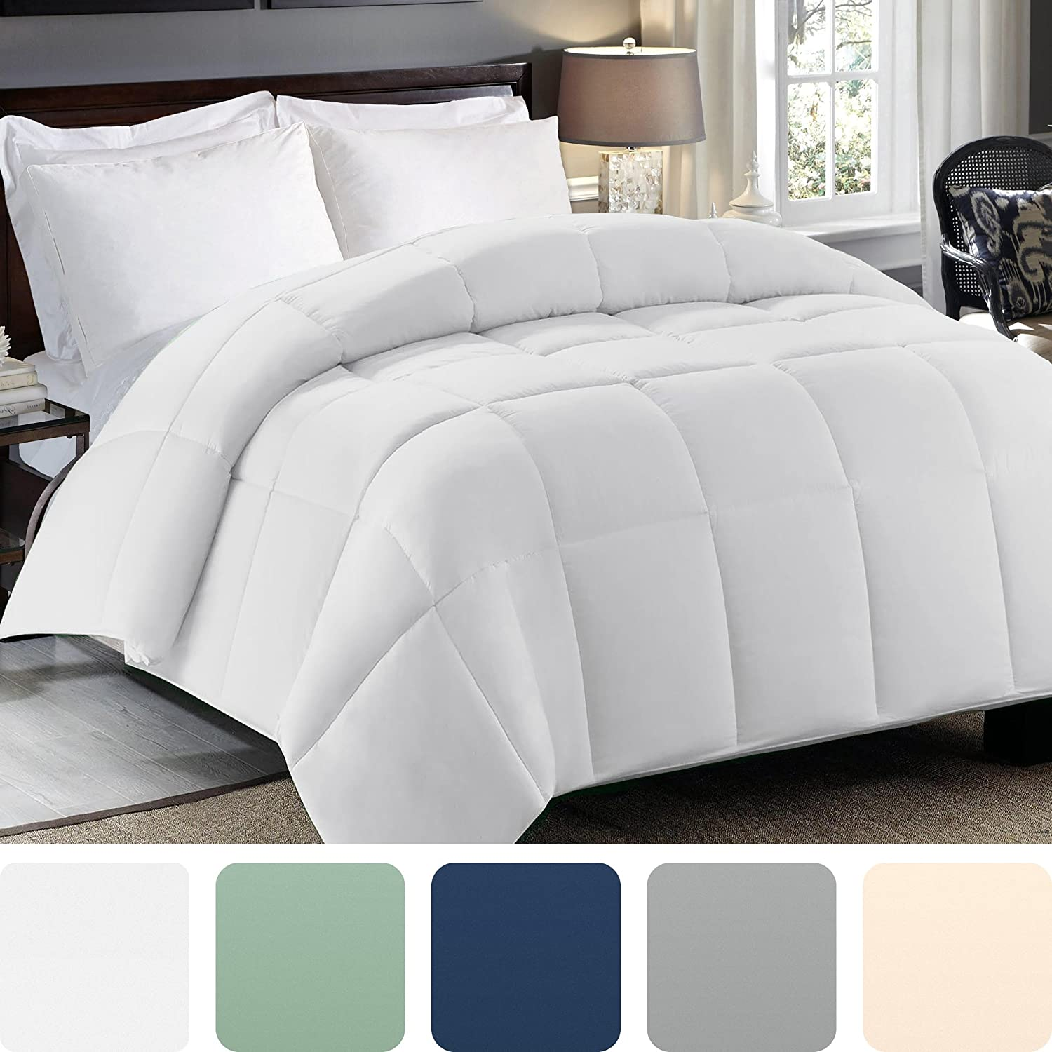 Cosy House Collection Premium Down Alternative Comforter - White - All Season Hypoallergenic Bedding - Lightweight and Machine Washable - Duvet Insert - (Twin/Twin XL)