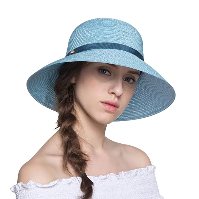 bd1bd20c079ec Sedancasesa Straw Hat Wide Brim Hats Summer Beach Caps Belt Decoration Cap  Women Girls (Blue