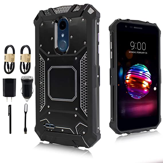 LG Stylo 4 Case, LG Q Stylo Case, Feather Light Aluminum Metal Rugged  Cover, Composite Case for LG Stylo 4 Plus/LG Stylus 4 [Value Bundle] (Black)