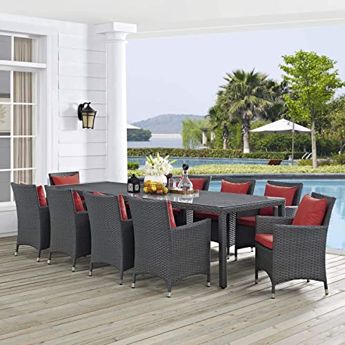 Modway EEI-2310-CHC-RED-SET Sojourn 11 Piece Outdoor Patio Sunbrella Dining Set in Canvas Red, Nine
