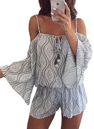 a22d24550847 Amazon.com  Lovezesent Women Sexy Off The Shoulder Trumpet Sleeve Beach  Romper Short Jumpsuit  Clothing