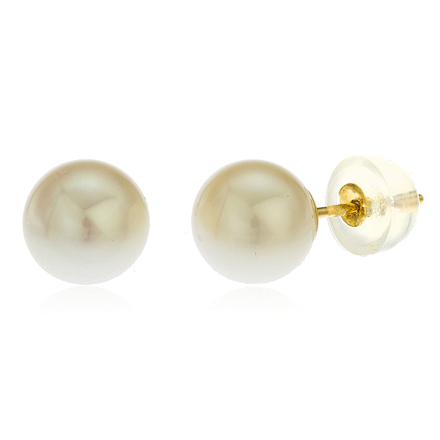 14k Yellow Gold 7mm Simulated Pearl Stud Earrings with Silicone Back GO-507