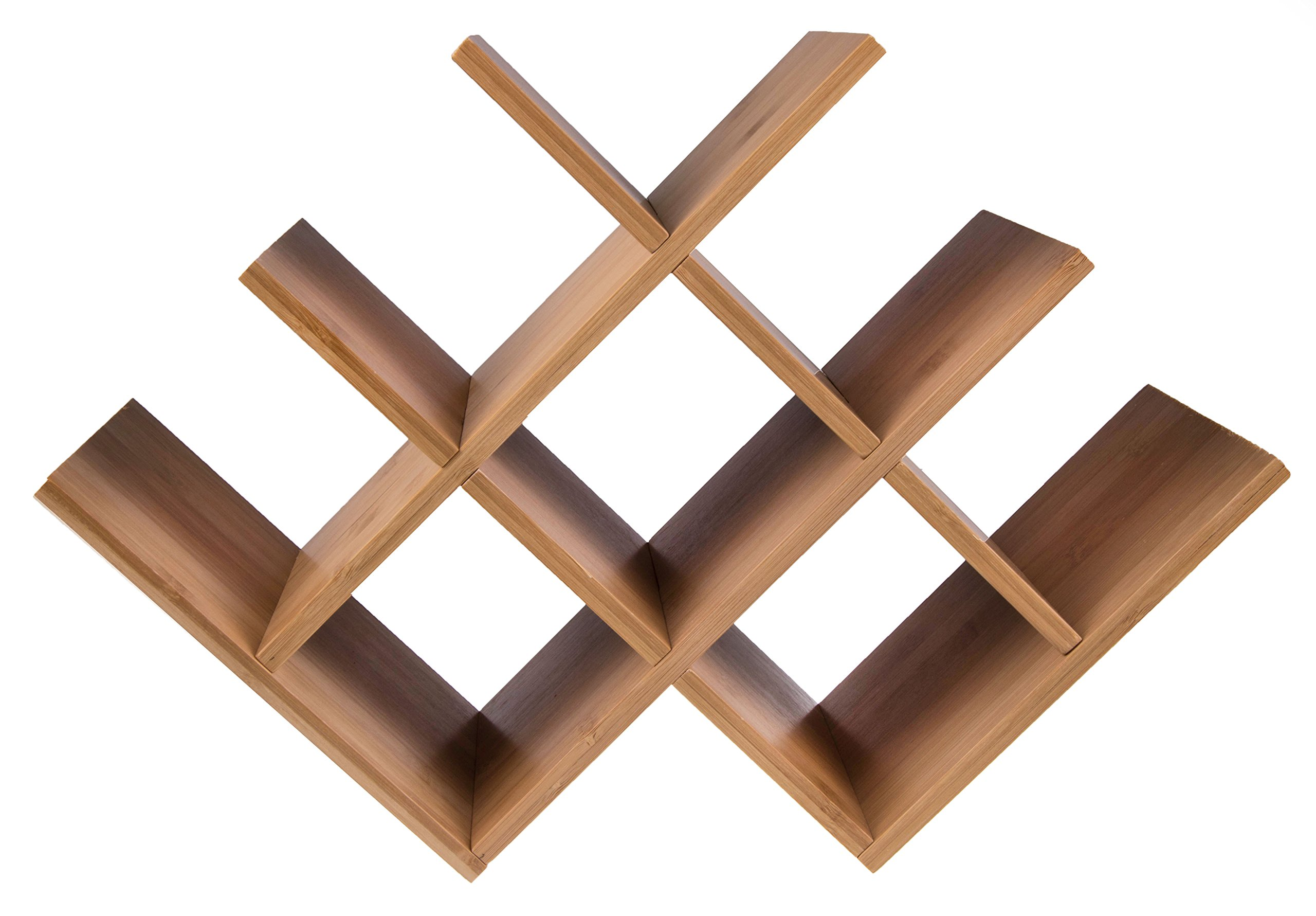 Premium Free Standing W Shaped Wine Rack by Clever Chef | Made of Bamboo | Sturdy & Easy to Assemble | Holds 8 Bottles by Clever Chef