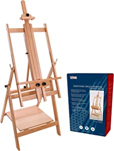 "U.S. Art Supply Large Adjustable H-Frame Multi-Purpose Studio Artist Wooden Floor Easel - Tilts Flat, Mast Adjusts to 88"" High, Holds 59"" Canvas - Sturdy Beechwood Painting Holder Display Stand, Shelf"