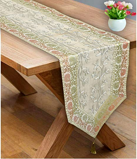Buy Stylo Culture White Gold Table Runner Coffee Table Mat 6 Feet Ari Zari Embroidered Rajasthani Brocade Satin Traditional Long Runner Up With Tassels Centre Tablecloth Online At Low Prices In