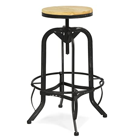 Best Choice Products Vintage Bar Stool Industrial Metal Design Wood Top Adjustable Height Swivel  sc 1 st  Amazon.com & Amazon.com: Best Choice Products Vintage Bar Stool Industrial ... islam-shia.org
