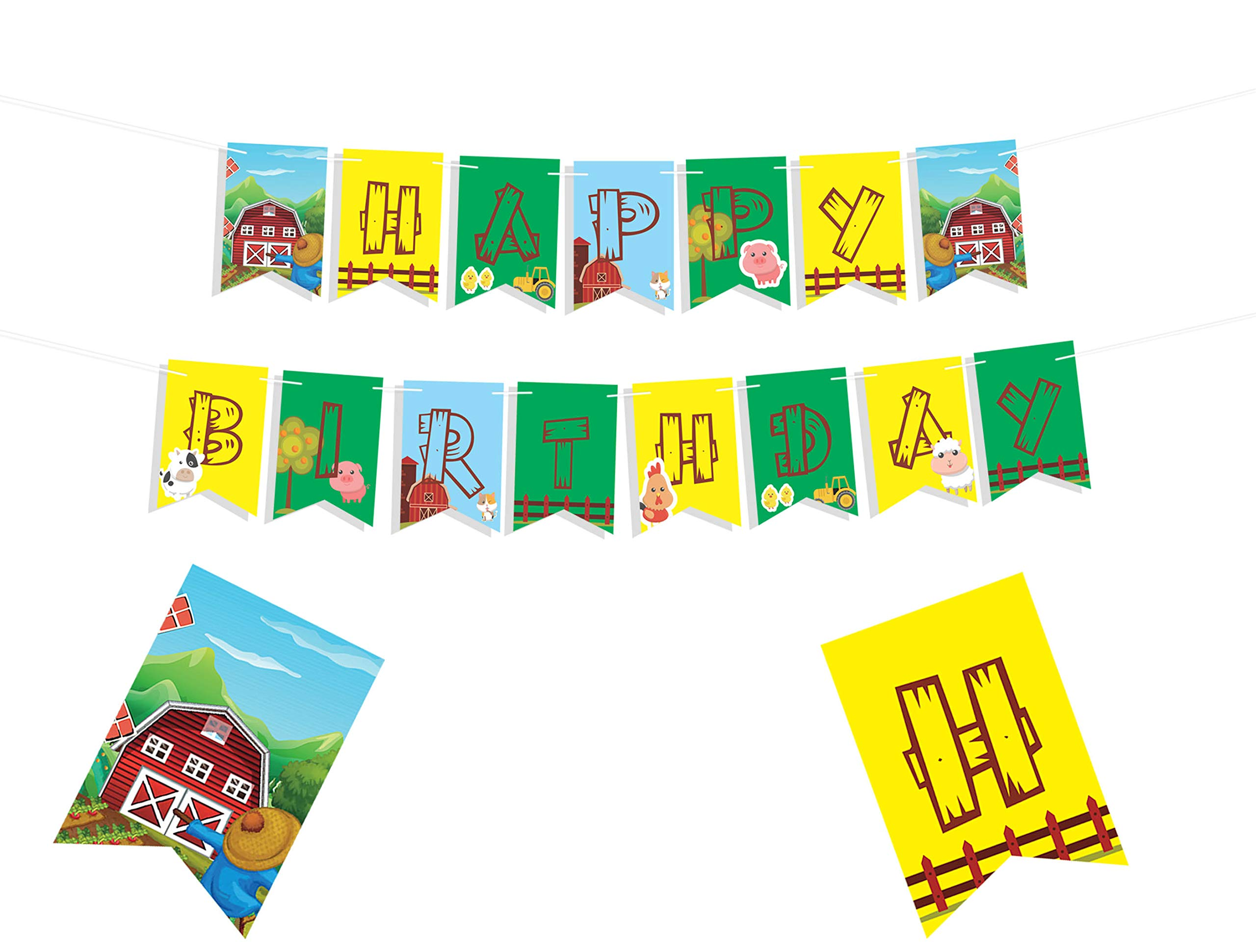 FARM THEMED HAPPY BIRTHDAY BANNER - Farmhouse Fun Party Supplies Decorations - Animal Farm Party Supplies - Barn Birthday Decor - Old Macdonald Party Supplies - Barnyard Party Supplies - Farm Games Birthday Decor - Kid Party Decorations - 8*5.5 Inches