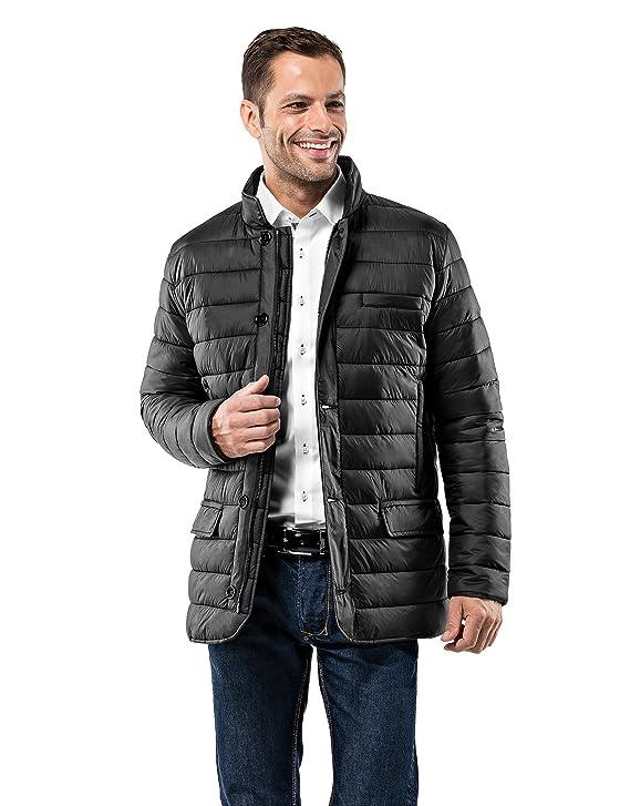 Vincenzo Boretti Herren Steppjacke Slim-fit tailliert Übergangs-Jacke leicht dünn weich warm gefüttert für Frühling Herbst mo