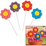 Frosted Bright Flowers Lollipops (12 Pack) Strawberry, Grape, Blueberry and Cherry flavors.