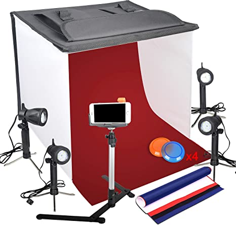 Emart - Caja de luz para fotografía (60 x 60 cm, con trípode y soporte para teléfono móvil y 4 fondos): Amazon.es: Electrónica