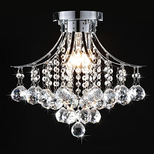 CO-Z Raindrop Crystal Chandelier, Flush Mount Ceiling Light Fixture with 3 Lights for Bedroom Living Room Dining Room Bedroom Hallway Entry, 180W Modern Crystal Ceiling Light with 3 Lights, UL Listed