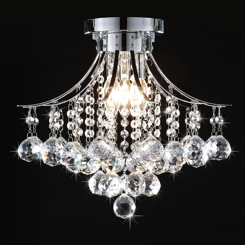 CO Z Crystal Flush Mount Chrome Raindrop Chandelier Ceiling Light