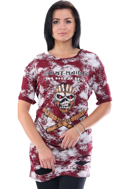 T-Shirt Long Damen Oversize Metalls Saint Maidens Motorrad Motor Cycles  Eagle Adler Rocker Rock Music Shirt Oberteil Musik Print Aufdruck Khaki  S/M: ...