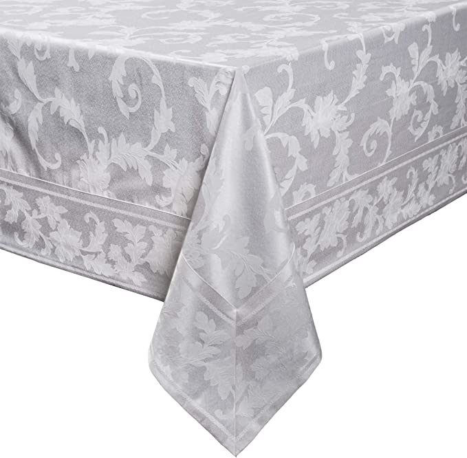 "Harmony Scroll Tablecloth (White, 60"" X 104"" Rectangular)"