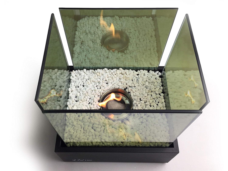 PURLINE NYMPHA INFINITY Biochimenea de sobremesa en acero lacado en negro con cristal templado y llama efecto infinito