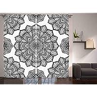 Orange Venue Etnik Perde, Siyah Beyaz Çiçekli, Oturma Odası Salon ve Yatak Odası için Dekoratif Fon Perde, 120 cm X 240 cm, Beyaz Siyah