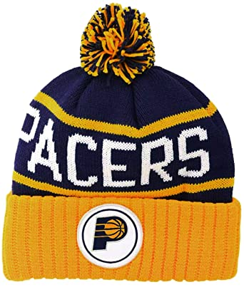 Indiana Pacers Mitchell   Ness NBA Beanie Knit Cap Hat High 5 Cuffed Pom  (One 1fba780e8a8