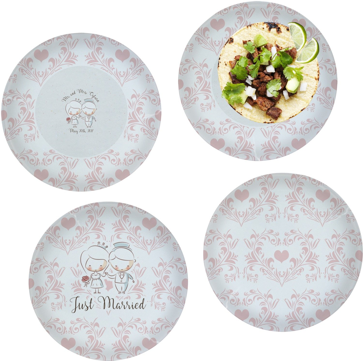 Wedding People Set of 4 Lunch / Dinner Plates (Glass) (Personalized)