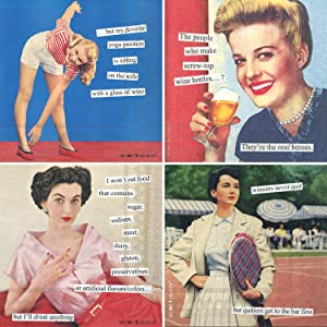Humorous Cocktail Napkins for Women - Anne Taintor Funny Assorted Boxed Variety Pack 40 Total Napkins