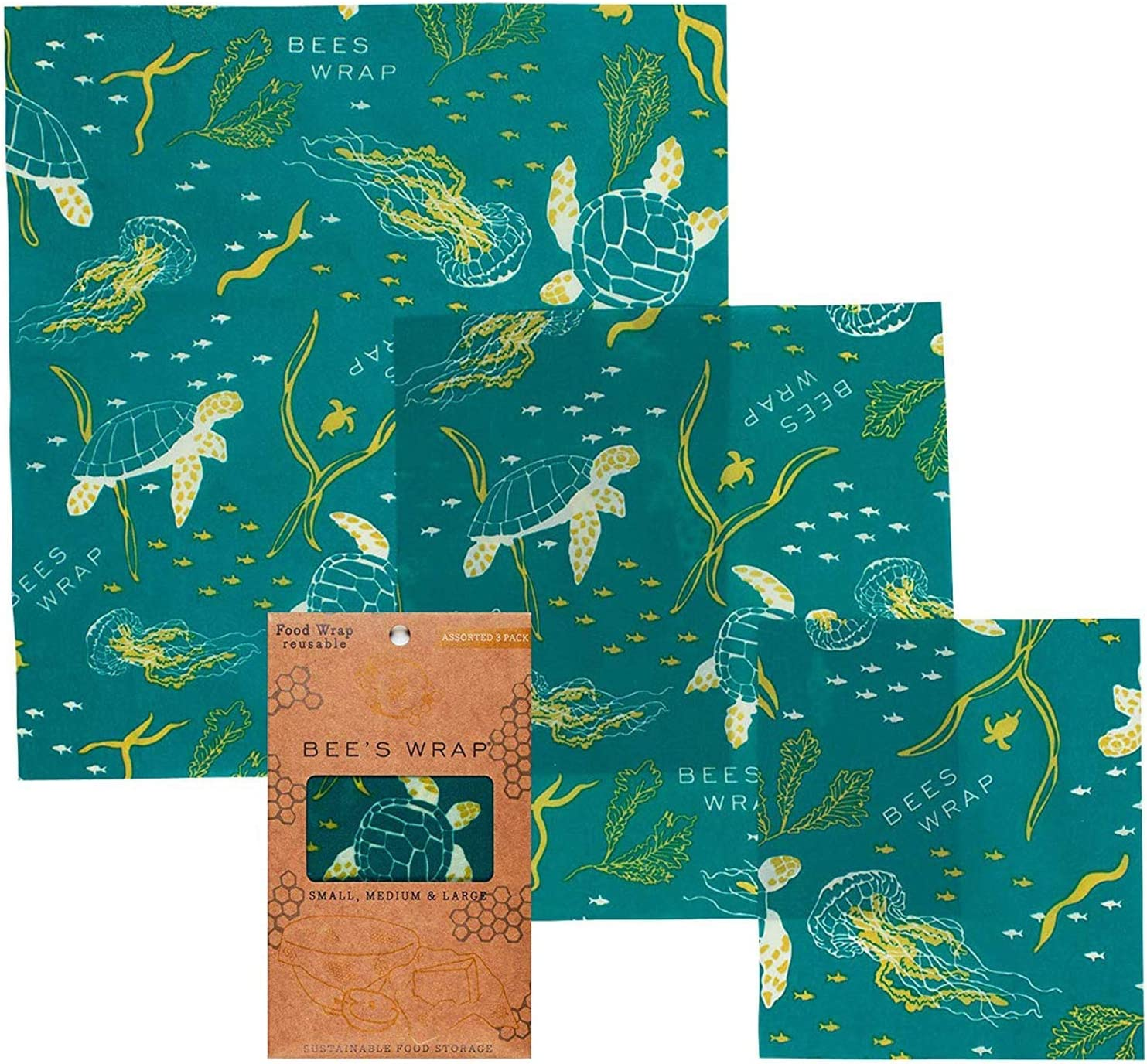 Bee's Wrap Assorted 3Pack, Made in USA, Eco Friendly Reusable Beeswax Food Wraps, Sustainable, Zero Waste, Plastic Free for Food Storage (Ocean Print)