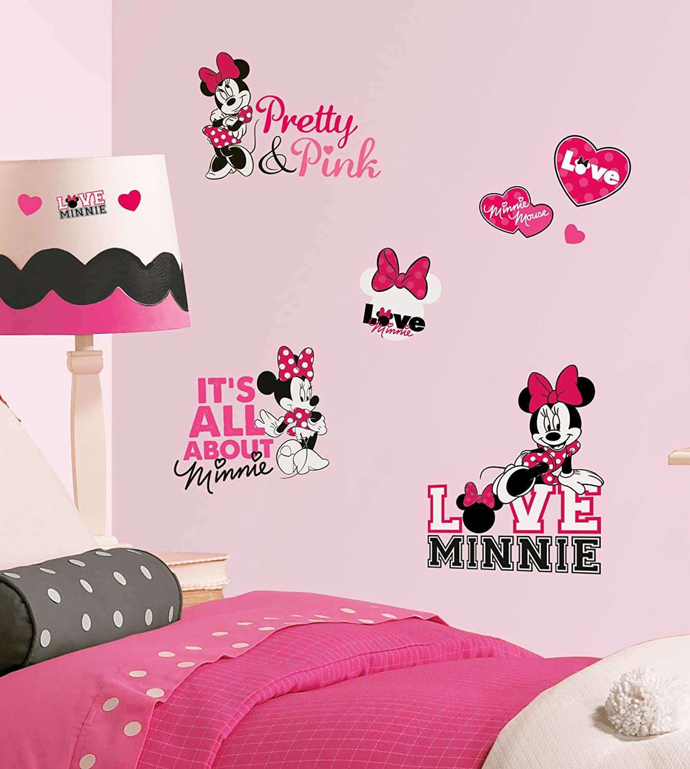 Roommates rmk2180scs mickey and friends minnie loves pink peel roommates rmk2180scs mickey and friends minnie loves pink peel and stick wall decals 28 count decorative wall appliques amazon amipublicfo Image collections
