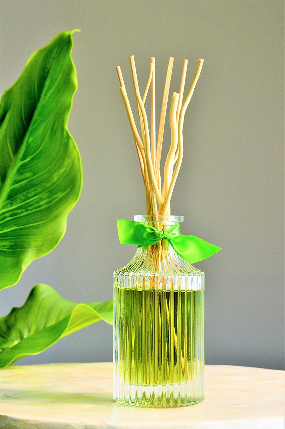 Manu Home Fresh Reed Diffuser Set   Clean, Refreshing, Energizing Aroma of Lily-of-The-Valley, Jasmine, Rose Ylang and Sandalwood   Best Essential Oils Used