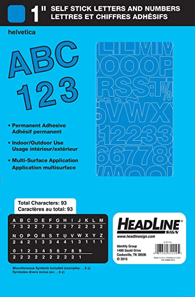 Amazon Headline Sign Stick On Vinyl Letters And Numbers White 1 Inch Business Store Signs Office Products