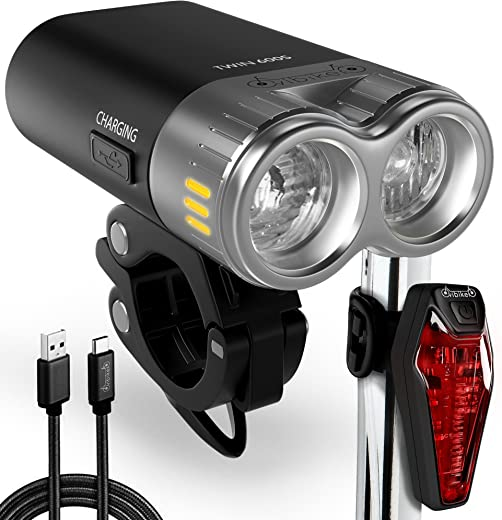 USB Rechargeable Bike Light Kit - LED Bicycle Headlight And Taillight Super Bright 600 Lumens - High Capacity Li ion Battery - Waterproof Fits All MTB Mountain And Road Bikes - Cycling Safety