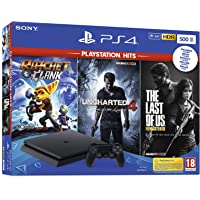 Playstation 4 Slim 500GB F Chassis + Rachet & Clank + The Last Of Us (Remastered) + Uncharted 4 [Esclusiva Amazon.it]