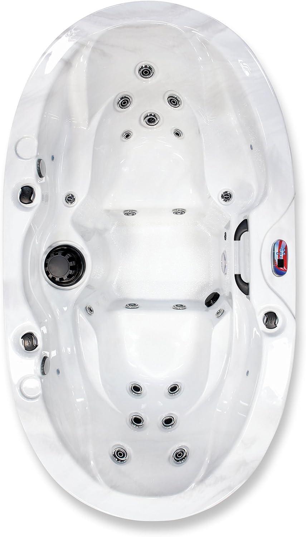 American Spas AM-420B Refresh 2-Person Hot Tub, White and Smoke