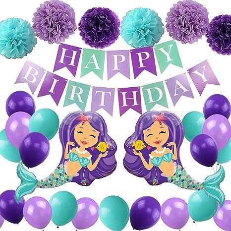 27 Piezas de Suministros de Fiesta de cumpleaños de Sirena: Pancarta de Sirena de Feliz cumpleaños, Globo de Sirena Gigante, Pompones de Papel, Globos ...