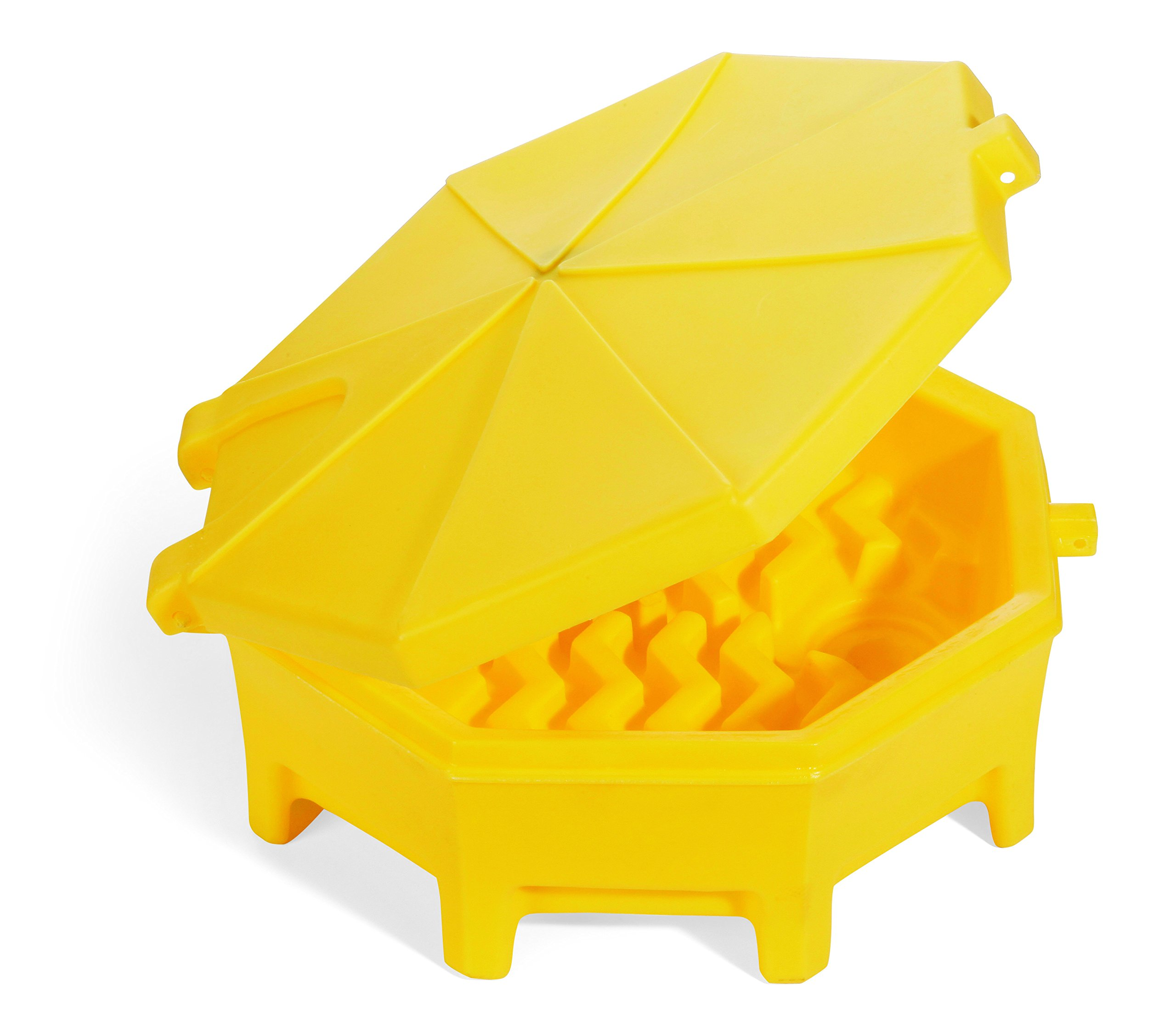"""New Pig Poly Drum Funnel with Hinged Lid, For 55 Gal Tight-Head Steel & Poly Drums, 29"""" Diam x 11"""" H, DRM672, Yellow"""