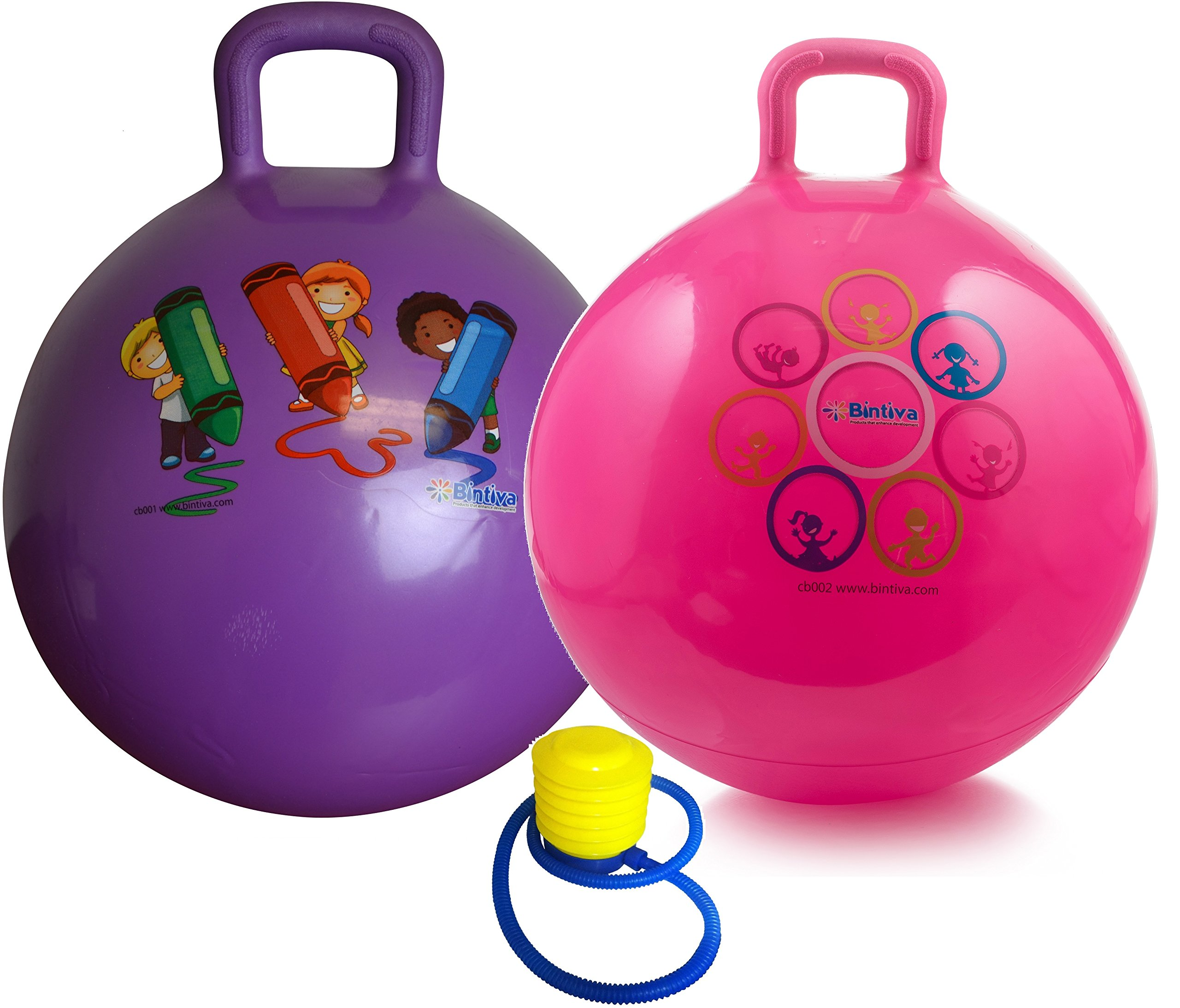 Hippity Hop 45 cm / 18 Inch Diameter Including Free Foot Pump, for Children Ages 3-6 Space Hopper, Hop Ball Bouncing Toy - 2 Balls by bintiva (Image #1)